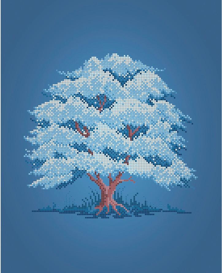 Схема для вишивки та вишивання бісером Бисерок «Дерево Зима» (A3) 30x40 (ЧВ-5324(10))