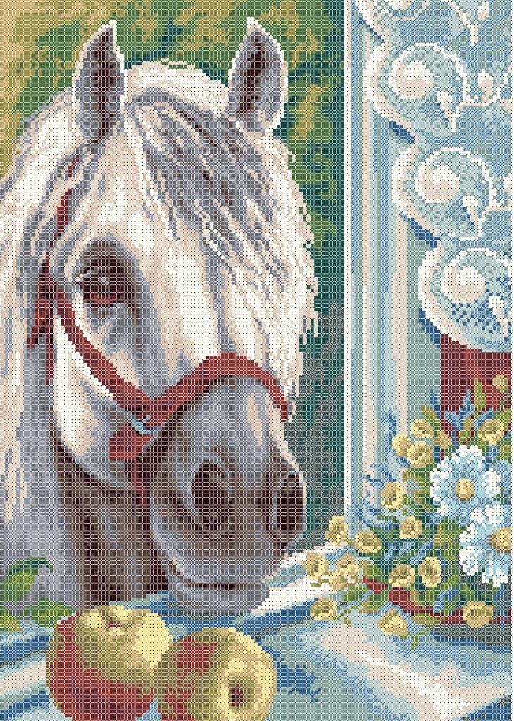 Схема для вишивки та вишивання бісером Бисерок «Кінь з яблуками» (A3) 30x40 (ЧВ-5331 (10))