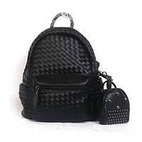 Кожаный черный рюкзак, портфель + в комплекте кошелек-косметичка.