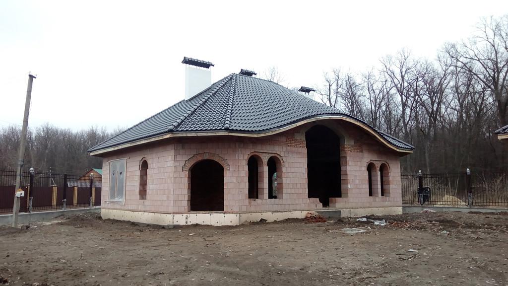 Дом из Porotherm 44 P+W Крыша натуральная черепица Koramic E32