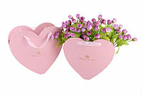 Подарочные коробки под цветы, Сердце, розовые, набор 2 шт