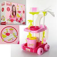 Детский Игровой набор для уборки - тележка, ведро, щетки, швабра, 667-33-35, в коробке38-49-14,5 см