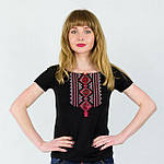 Черная футболка вышиванка с красным орнаментом, фото 2