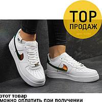 Женские кроссовки Nike Air Force, белые с золотом / кроссовки женские Найк Аир Форс, кожаные, удобные
