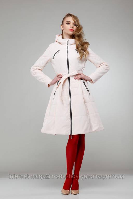 Пальто женское демисезонное цвет светлый персик - Интернет-магазин