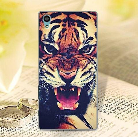 Бампер силиконовый чехол для Sony Xperia X с картинкой Тигр
