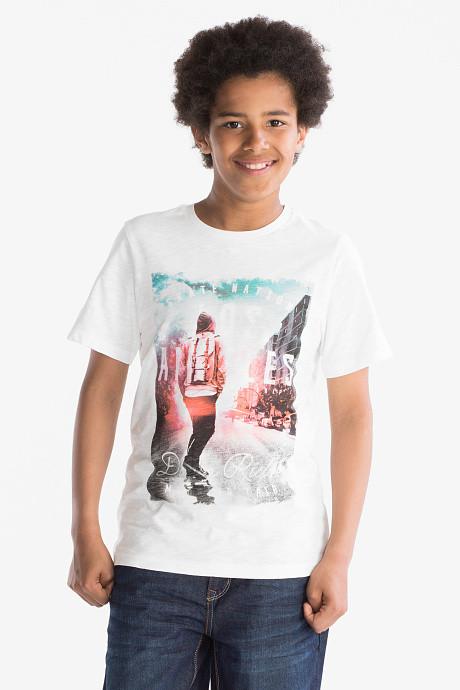 Стильная белая футболка на мальчика C&A Германия Размер 134-140