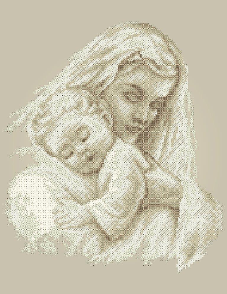 Схема для вишивки та вишивання бісером Бисерок «Мати  і дитина 5181» коричневий фон (A3) 30x40 (ЧВ-5181к(10))