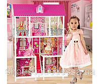 Домик вилла для кукол Барби 5шт и мебелью 137см, 3 этажа, 5 комнат, терассы, фото 1