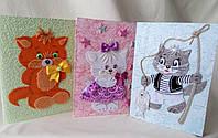 Дизайнерские открытки ручной работы котики. Подарок