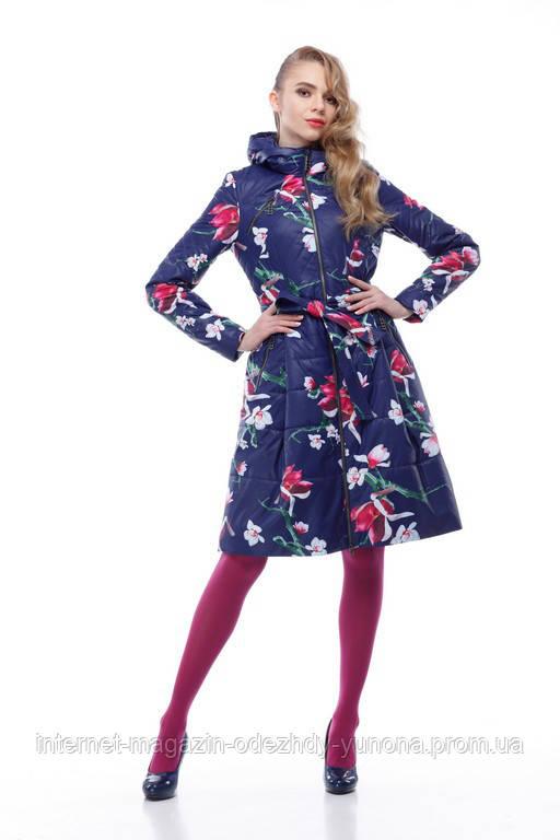 Пальто женское демисезонное принт цветы - Интернет-магазин