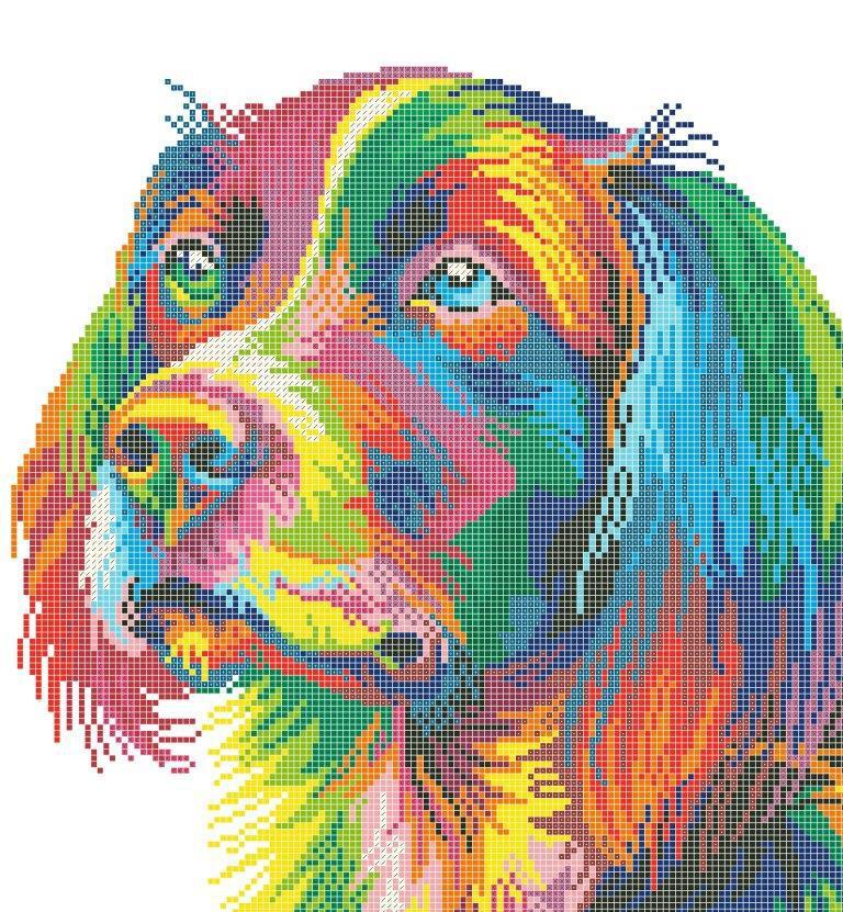 Схема для вишивки та вишивання бісером Бисерок «Веселковий собака 5178» (A3) 30x40 (ЧВ-5178(10))