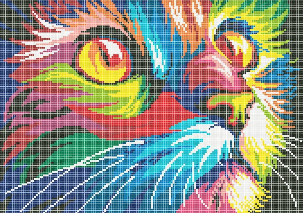 Схема для вишивки та вишивання бісером Бисерок «Веселковий кіт 5177» (A3)  30x40 d197f600fb76b