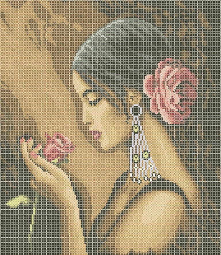 Схема для вишивки та вишивання бісером Бисерок «Іспанка з трояндою» (A3) 30x40 (ЧВ-5189 (10))