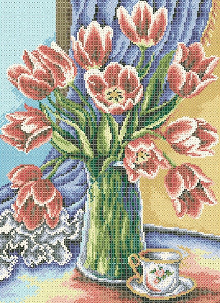 Схема для вишивки та вишивання бісером Бисерок «Тюльпани на вікні 5184» (A3) 30x40 (ЧВ-5184(10))