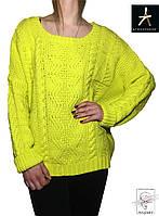 Женский вязаный свитер Atmosphre ярко-желтого цвета размер М 46 48