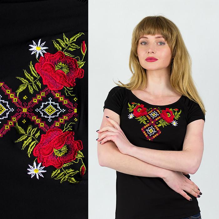 Черная женская вышиванка маки с орнаментом
