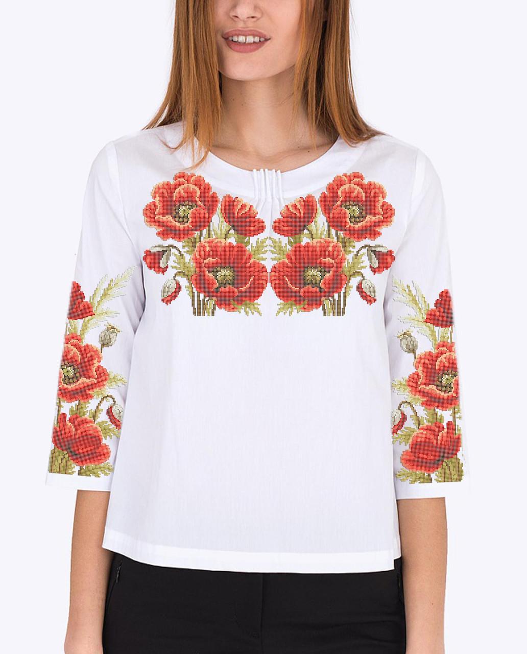 Заготовка вишиванки жіночої сорочки та блузи для вишивки бісером Бисерок «Червоний маків цвіт 126» (Б-126)