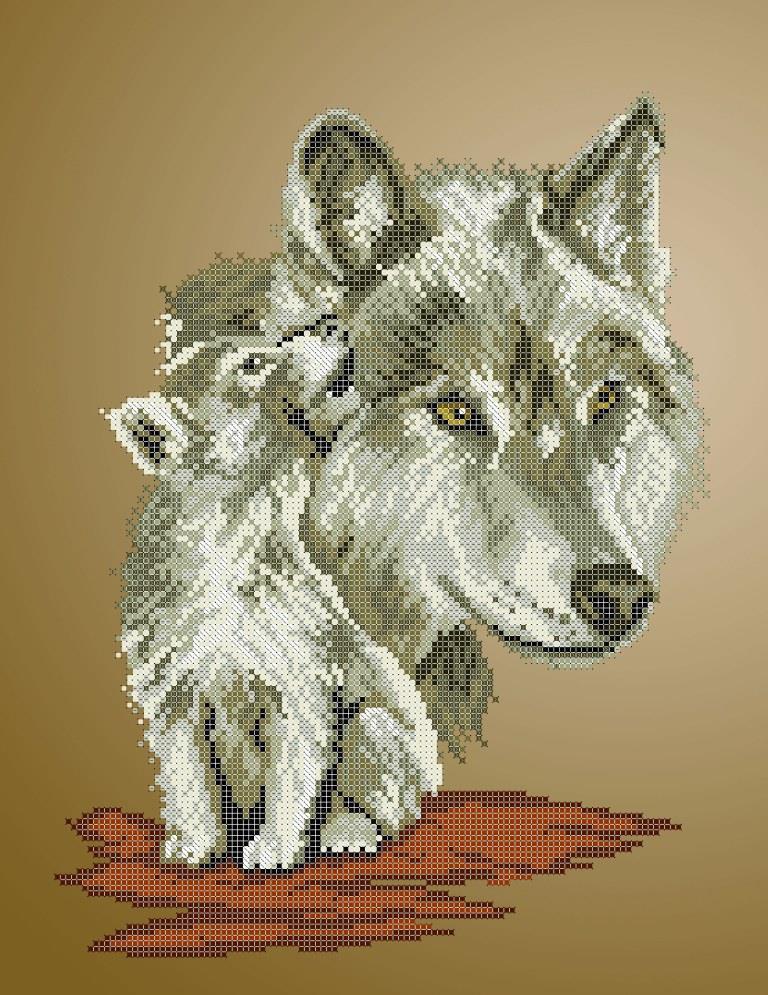 Схема для вишивки та вишивання бісером Бисерок «Вовчиця з вовченям» (A3) 30x40 (ЧВ-5194 (10))