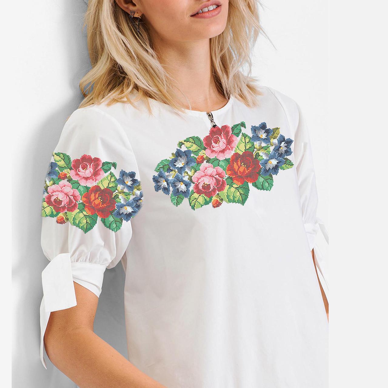Заготівля вишиванки жіночої сорочки та блузи для вишивки бісером Бисерок «Букет 127» (Б-127 )