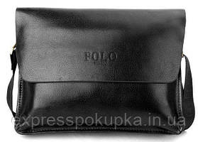 Мужская сумка Polo Videng горизонтальная   Темно-коричневая Черный