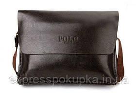 Мужская сумка Polo Videng горизонтальная   Темно-коричневая Коричневый