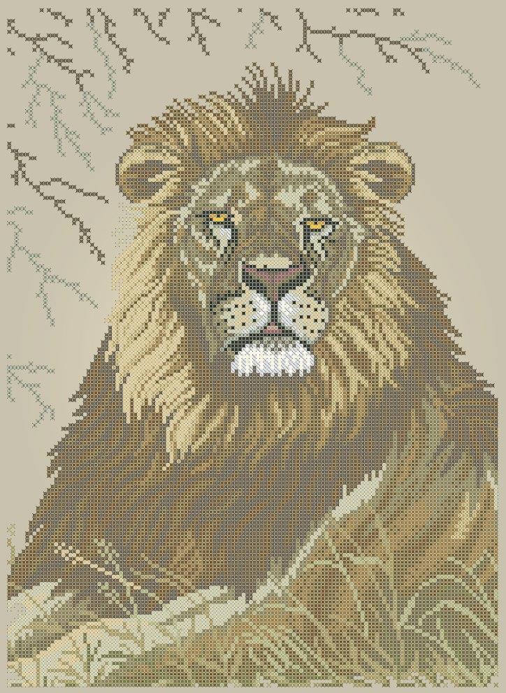 Схема для вишивки та вишивання бісером Бисерок «Лев» (A3) 30x40 (ЧВ-5343 (10))