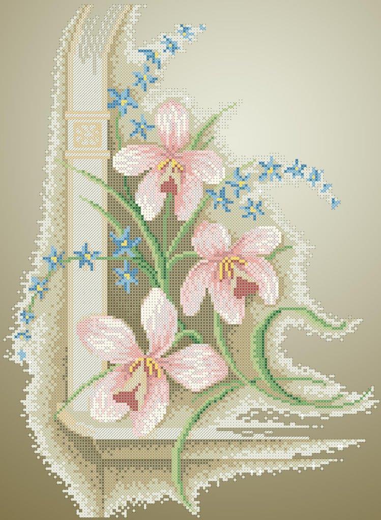 Схема для вишивки та вишивання бісером Бисерок «Винтажні орхідеї 5357» (A3) 30x40 (ЧВ-5357к(10))