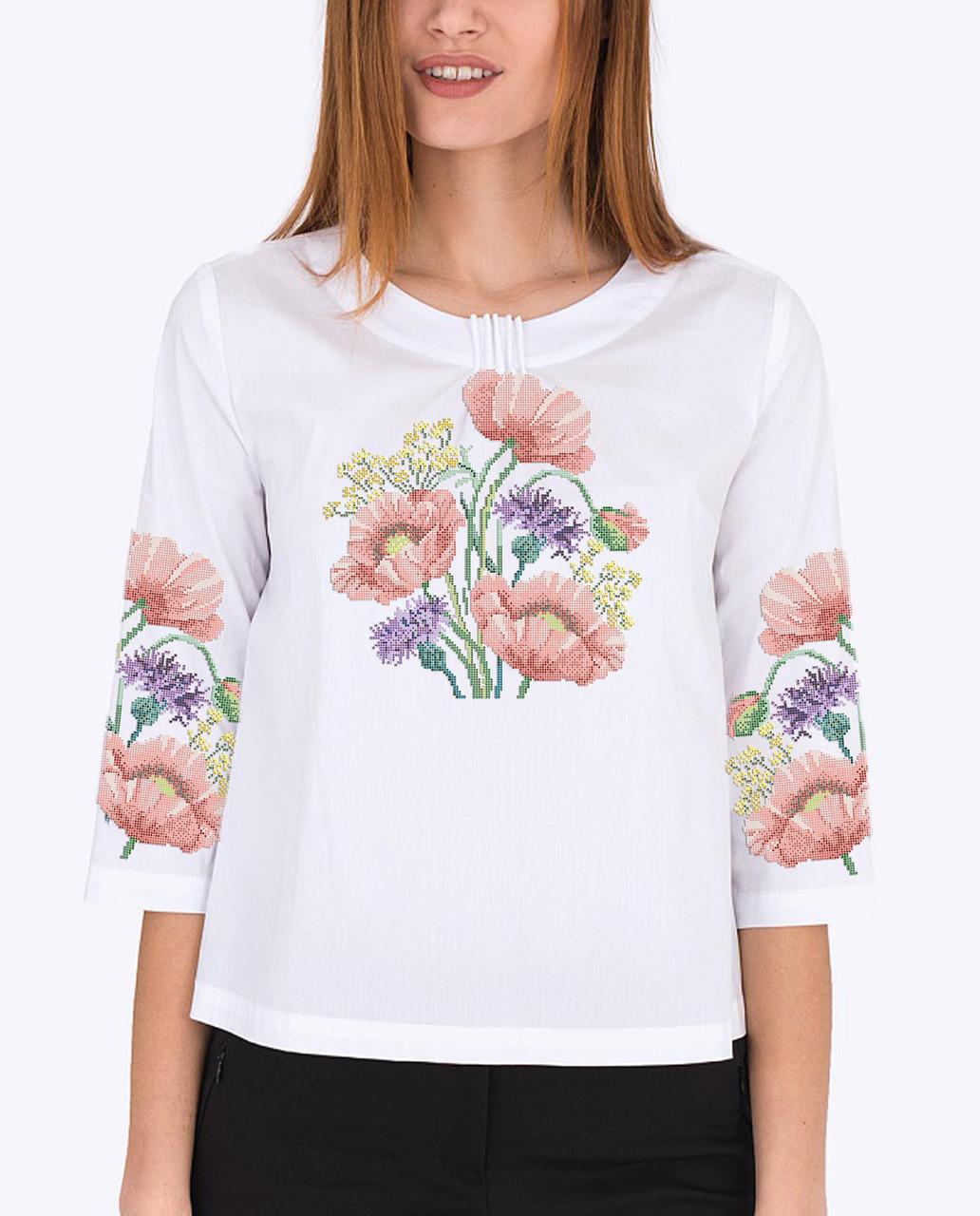 Заготовка вишиванки жіночої сорочки та блузи для вишивки бісером Бисерок «Маки 117» (Б-117 ГБ)