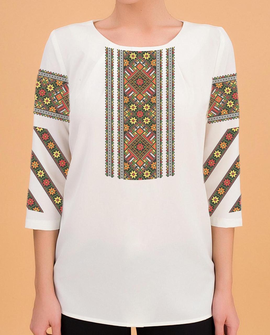 Заготовка вишиванки жіночої сорочки та блузи для вишивки бісером Бисерок «Орнамент 116» (Б-116 ГБ) Габардин