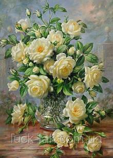 Алмазная вышивка, ваза с розами, 30х40 см, частичная выкладка