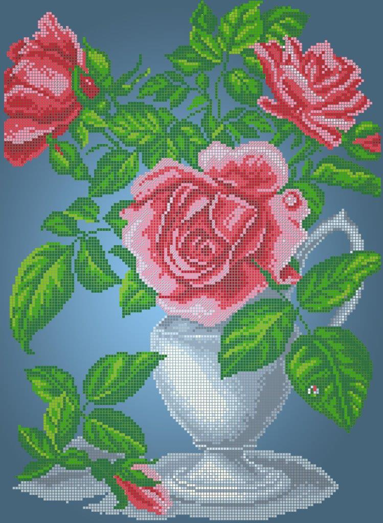 Схема для вишивки та вишивання бісером Бисерок «Рози арт» (A3) 30x40 (ЧВ-5086(10))