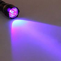 Ultrafire WF-501B мощный ультрафиолетовый фонарь 3Вт + 2 батареи 18650 + зарядное