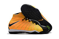 Бутсы сороконожки  Nike HypervenomX Proximo TF yellow/black с носком, фото 1