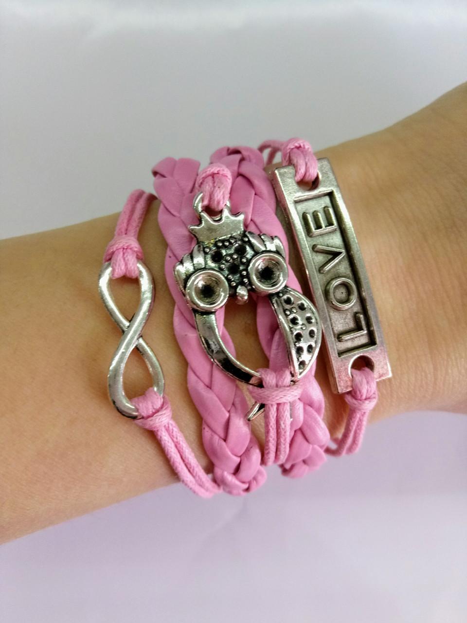 Браслет Infinity розовый сова/бижутерия/цвет розовый/материал текстиль,кожа