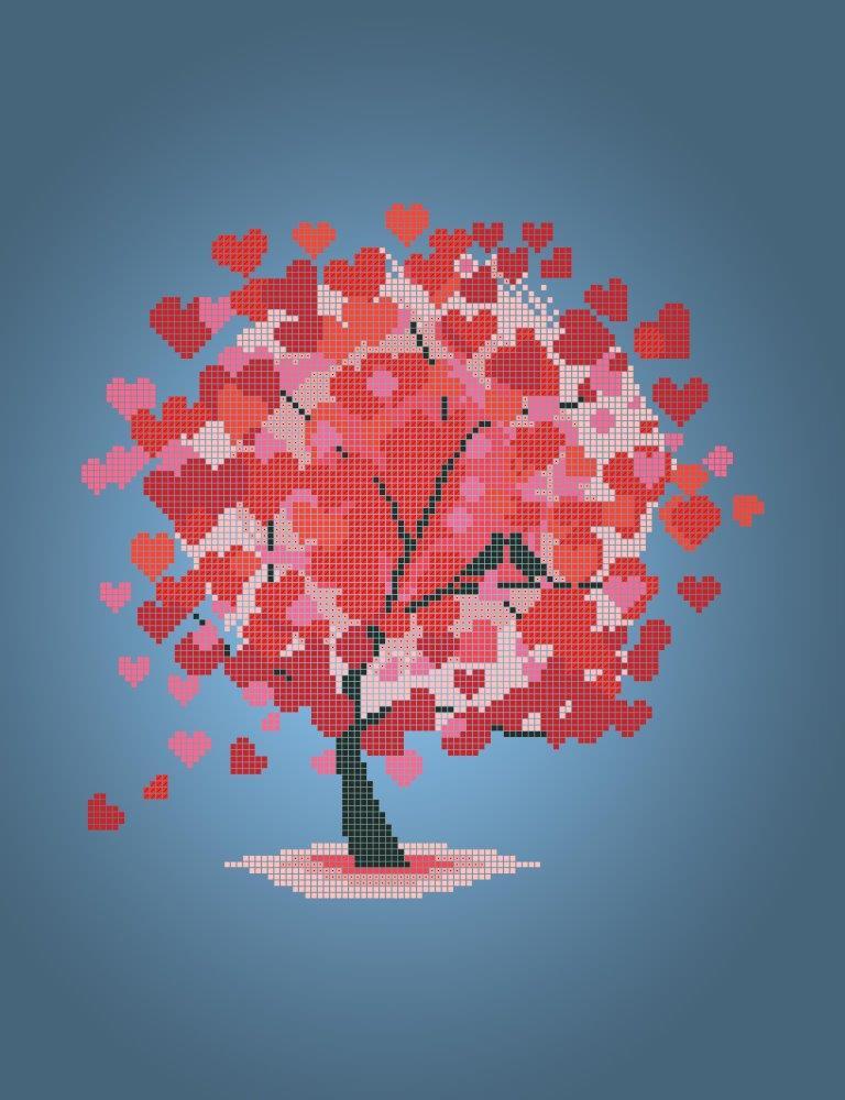 Схема для вишивки та вишивання бісером Бисерок «Дерево кохання» (A3) 30x40 (ЧВ-5090(10))