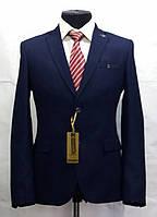 Приталенный мужской пиджак полуночно-синего цвета Victor Enzo 5065