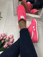 Женские кроссовки, замшевые, розовые, с кожаными вставками белого цвета, с сеточкой, на шнурках