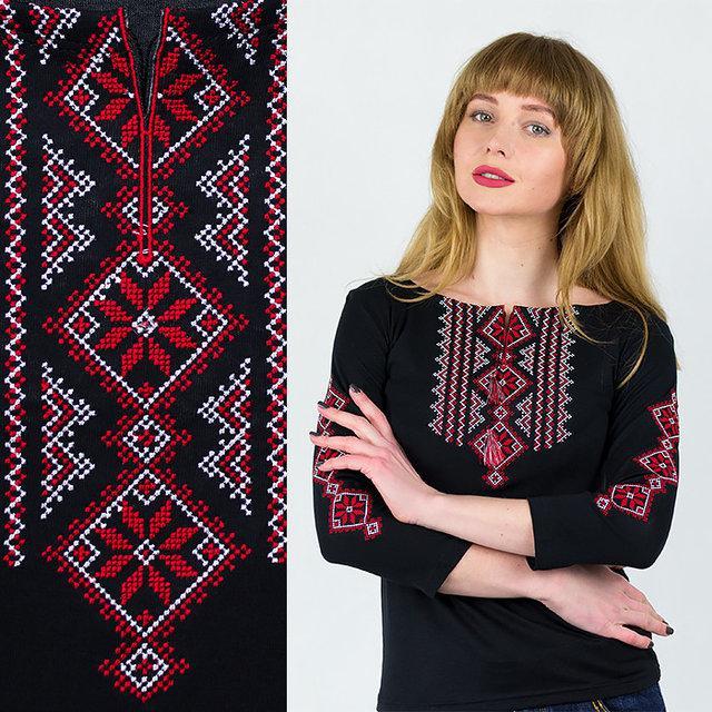 Женская вышиванка с рукавом 3/4 вышивка крестиком