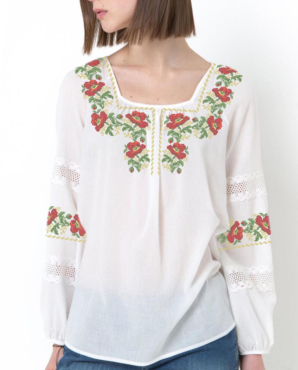 Заготовка вишиванки жіночої сорочки та блузи для вишивки бісером Бисерок  «Маки в орнаменті» (Б-105 )