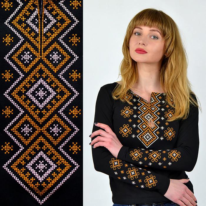 Женская вышиванка с длинным рукавом из трикотажа
