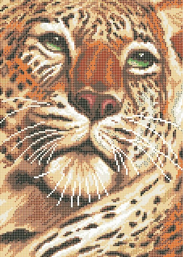 Схема для вишивки та вишивання бісером Бисерок «Погляд тигра» (A3) 30x40 (ЧВ-5108(10))