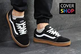 Кеды мужские Vans Old Skool, материал - замша+текстиль, черно-белые с коричневым 41