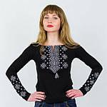 Классическая трикотажная вышиванка женская серый орнамент, фото 2
