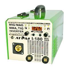Сварочный инверторный полуавтомат Атом I-180 МIG/MAG (Украина-Запорожье) c кабелем 3+2 и зажимами Binzel