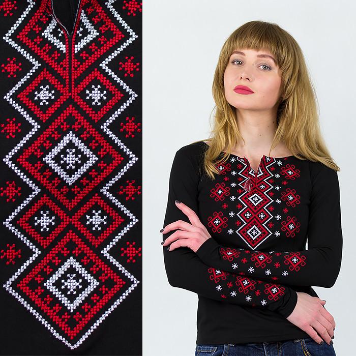 Черная вышиванка с длинным рукавом красный орнамент