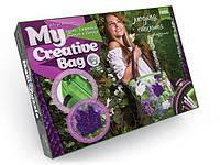 """Набор для творчества """"My Creative bag"""" стильная сумка СИРЕНЬ, вышитая лентами и бисером."""