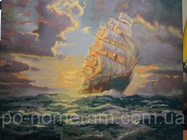 Нарисованная картина по номерам с морским пейзажем