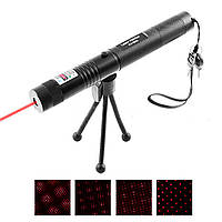 Фонарь-лазер красный HJ-308, 1x18650, ЗУ 220V, ключ  (лазерный луч)