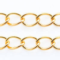 Цепочка витая железная, цвет золото, 6х3х0,7мм, длина -5 м,  УТ006521
